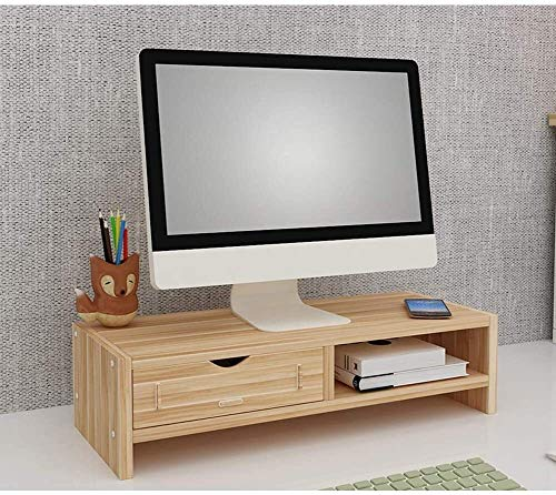 DAGCOT Ordenador portátil Tabla de Madera de bambú Monitor de Soporte Vertical 2 Niveles de múltiples Funciones de la Memoria del Monitor Soporte Vertical for Office Soporte de sobremesa Portátil
