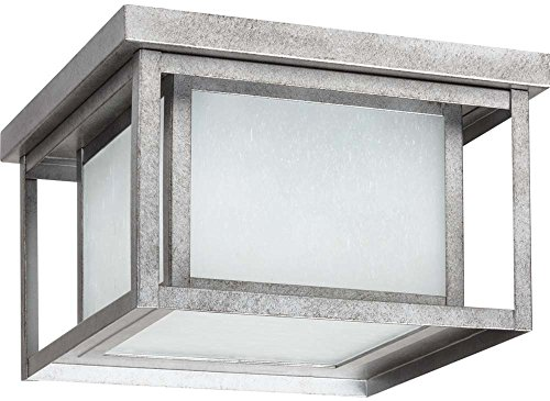 Sea Gull Lighting Generation 79039-57 Transitional Two Light Outdoor Flush Mount from Seagull-Hunnington Collection, Nickel, Silver Finish, Weathered Pewter