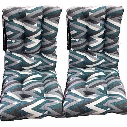 Pack 2 Cojines de Silla con respaldo para Jardin. Conjunto de 2 cojines para sillones de Interior y Exterior Cómodo. Cojines para sillas con respaldo, cojines sillones, mecedoras terraza. (tríangulos)