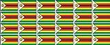 Mini Aufkleber Set - Pack glatt - 33x20mm - Sticker - Simbabwe - Flagge - Banner - Standarte fürs Auto, Büro, zu Hause & die Schule - 24 Stück