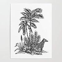 キャンバスHdプリントゼブラ動物の写真ブラックライン壁アートワーク絵画家の装飾ツリーポスターリビングルームの装飾50X70cm20x28インチフレームなし