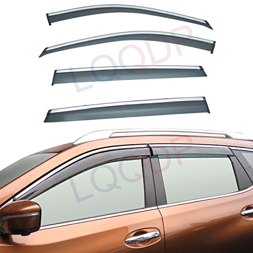 LQQDP 4pcs Smoke Tint With Chrome Trim Outside Mount Tape On/Clip On Style PVC Sun Rain Guard Vent Shade Window Visors Compatible With for 14-20 X-Trail/Rogue