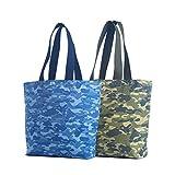 Wiederverwendbare Einkaufstasche, Camouflage, modisch, für den täglichen Einkauf, hergestellt in den USA, 2 Stück (Camouflage)