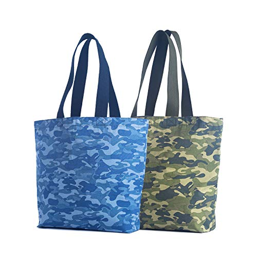 Reusable Tote Grocery Bag Camo Fashion Everyday Shopping Proudly Made in the USA (Set of 2) (Camouflage)