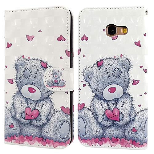 Ailisi Samsung Galaxy A5 2017 Hülle Teddy Bear 3D Muster Handyhülle Schutzhülle PU Leder Wallet Hülle Flip Hülle Klapphüllen Brieftasche Ledertasche Tasche Etui im Bookstyle