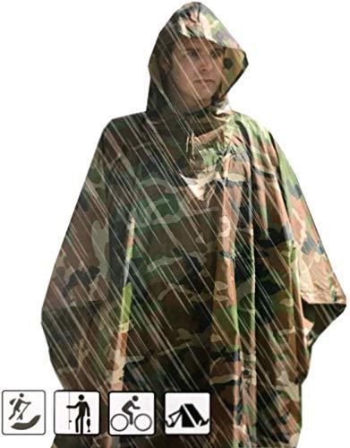 Megaprom Army Camouflage Regenponcho Regenjacke Nässeschutz Flecktarn Wasserdicht für Outdoor Jagd Angeln