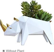 Amoy-Art Suculentas Plantador de Cactus Flores Planta Maceta Suculento Cactus Maceta Contenedor Envase Jirafa Animal Planter Flower Pot Figurillas Estatua Regalo Resina 23cmH