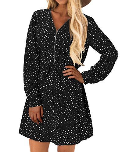 YOINS sukienka damska z długim rękawem, elegancka sukienka bluzkowa, jesień, tunika, sukienka zimowa, dekolt w serek, sukienka koszula, z paskiem.