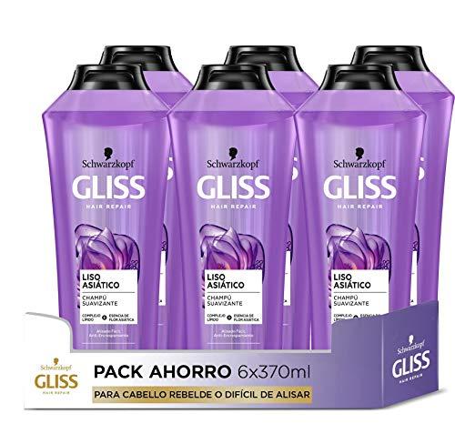 Gliss - Champú para pelo rebelde o difícil de alisar - Liso Asiático - 6uds de 370ml (2.220ml) – Gama alisado fácil
