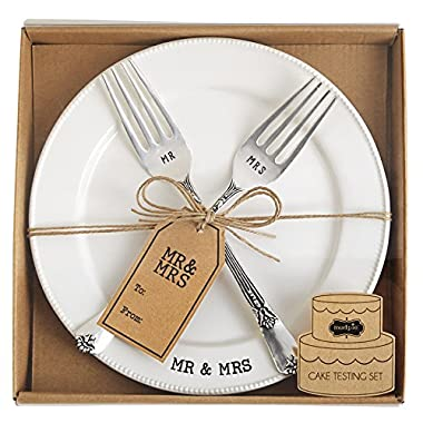 Mud Pie Mr. & Mrs. Plate & Fork Set, White