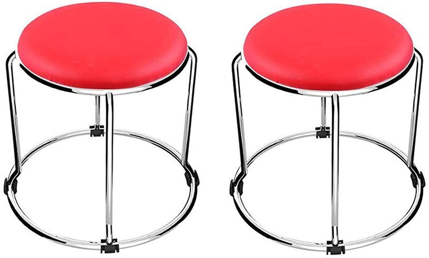 QIQI-LIFE Small PU Round Stool, Stainless Steel Folding Art Footstool Sofa Stool, Living Room Kitchen (color   Red 1)
