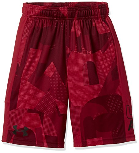 Under Armour Boys Stunt Printed Short, Red/Red/Black, YXS