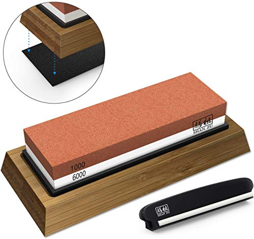 Whetstone Knife Sharpening Stone Set, Premium 2-Sided Whetstone...