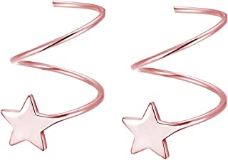 SLUYNZ 925 Sterling Silver Star Earrings for Women Teen Girls Fashion Star Wrap Earrings