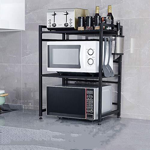XXT Cadre de stockage Cuisine en acier inoxydable Four à micro-ondes 2 couches de stockage cuiseur à riz Étagère multifonctions disponible en différentes tailles (Style : F)