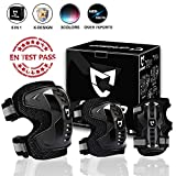 CrzKo Kids/Youth Protective Gear, Knee Pads and Elbow Pads with Wrist Guards, 6 in 1 Protective Gear Set, BMX Bike Inline Roller Skates Cycling Skateboard Inline Scooter Riding Sports
