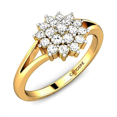 ( 5. ) Candere By Kalyan Jewellers 18KT Yellow Gold and Diamond Ring for Women