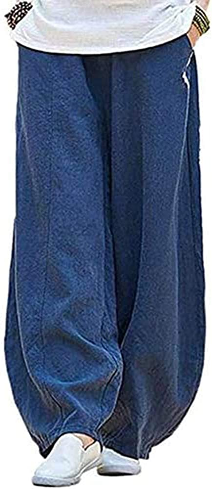 Women's Casual Elastic Waist Cotton Linen Lantern Pants Loose Fit Baggy Trousers with Pockets