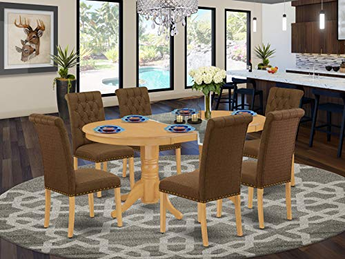 7Pc Dinette Set Includes an Oval Dining Table with Butterfly Leaf and Six Parson Chairs with Dark Coffee Fabric, Oak Finish