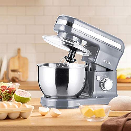 Küchenmaschine Knetmaschine 800W / 4L Edelstahlschüssel Teigmaschin mit Rührbesen, Knethaken, Schlagbesen, Spritzschutz HOZODO 6 Geschwindigkeit Weniges Geräusch Rührmaschine (Cremeweiß)