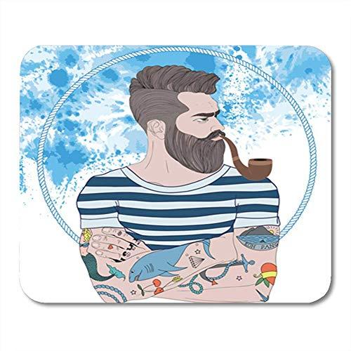 Mauspad Gummi Mini Rechteck Porträt von bärtigen Mann Seemann Old School Tattoo und Rauchrohr Wasser Marine Gaming Notebook Computer Zubehör Backing