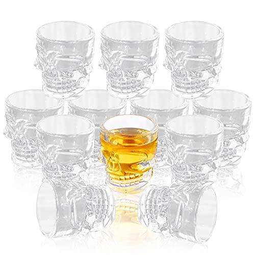 FORYILLUMI Skull Face Whiskey Shot Glasses Heavy Base, 12 Pack Stemless Shot Glasses Set, Crystal Clear Shot Drinking Glassware for Wine, Whiskey, Tequila, Cocktail Bar Decor, 40ml