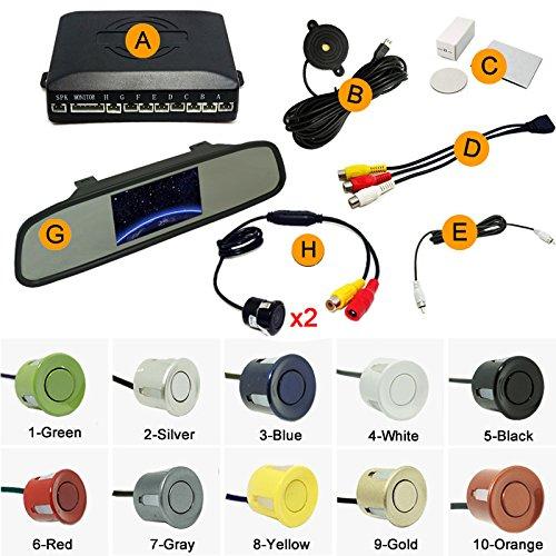 Best Price FEELDO Car 4.3 Rearview Mirror Monitor 8-Sensor Radar 2X 18.5mm CCD Camera Dual Rearview...