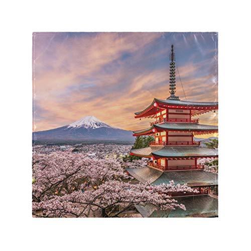 Chic Houses Lot de 6 serviettes de table en satin Motif fleurs de cerisier et coucher de soleil 50,8 x 50,8 cm 2030107