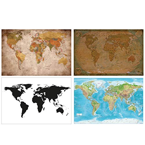 GREAT ART® 4er Set XXL Poster Motive – Weltkarten Mix – Historische Retro Weltkarte Schwarz-Weiß Maps-in-Minutes™ Relief World Map Bild Dekor Wandbild Plakat je 140 x 100 cm