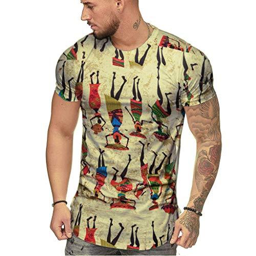 Lazzgirl Art- und Weisemensommer dünner beiläufiger afrikanischer Druck Oansatz gepaßte Kurze Hülsen-Oberseiten-Bluse(Beige,X-Large,Bettwäsche aus Baumwolle)