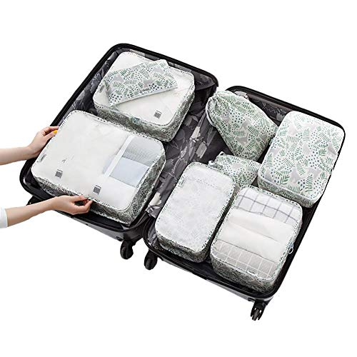 Aimili Packing Cubes for Suitcase Travel Organiser Bags Set, Compression Bag Clothes Box, Suitcase Storage Bag Used for Travel Suitcase Storage Bag Suit Clothes Shoes Cosmetics Pack of 8 Cat Garden