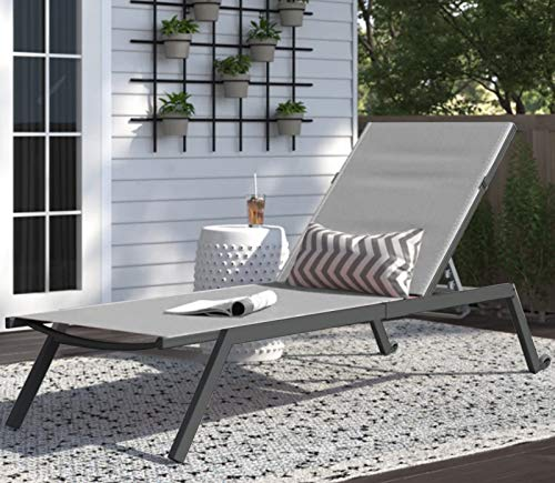 Sun Lounger, Portable Outdoor Recliner Chaise Lounge Chair Bed with 4 Level Adjustable Backrest & 2 Wheels for Garden Poolside Backyard (Gray)