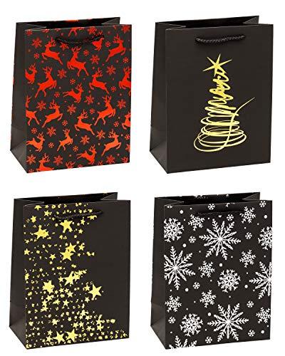 TSI 88010 - Sacchetti regalo natalizi Premium, confezione da 12, misura media (23 x 18 x 10 cm)