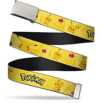 "Buckle-Down Big Web Belt Pokemon, Pikachu Poses w/Pokemon Yellow, 1.0"" Wide-fits up to Kids Size 20"