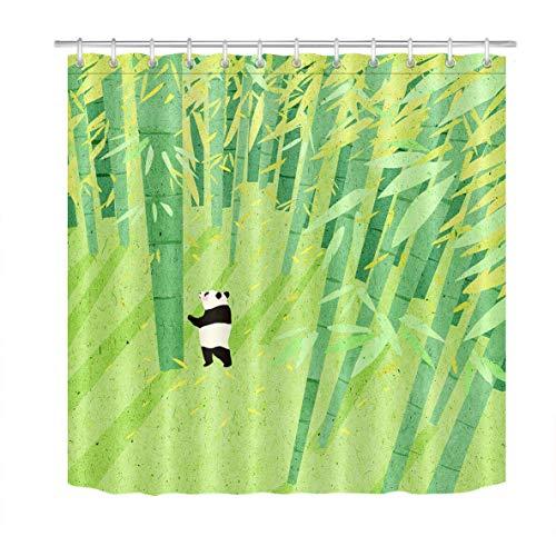 FANG2018 Grüner Bambus Wald Panda Duschvorhang Bad Durable Fabric Mehltau Bad Anhänger Kreative mit 12 Haken 180X180 cm