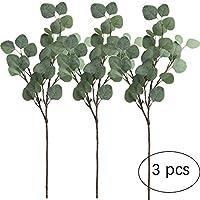 "Kokmn 3 Piezas de espray de Hojas de eucalipto de Seda Artificial de Plata Artificial en Verde 25.5"" de Alto Verdoso Artificial de día Festivo Verdes para decoración de Fiesta en el hogar o Boda"