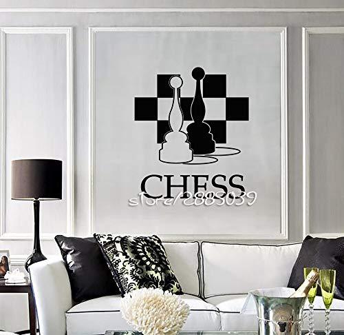 JXLLCD Schachfigur Club Schachbrett Wandaufkleber PVC Wandtattoo Ungiftig Hochwertige Tapete Wandbild 57X66cm