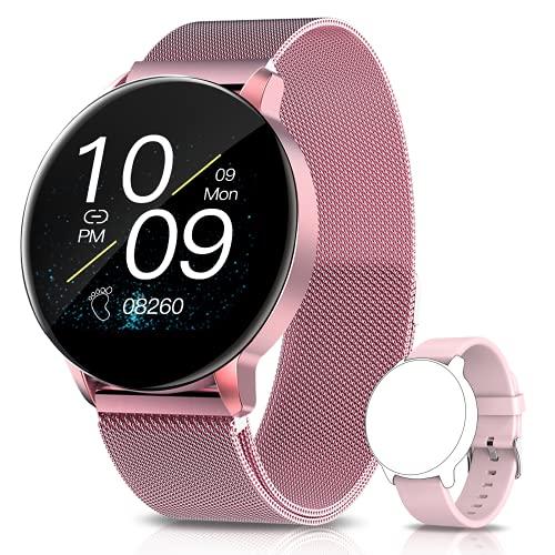 AIMIUVEI Smartwatch Mujer, 1.3 Inch Reloj InteligenteMujer con Pulsómetro, Monitor de Oxígeno de Sangre y Sueño Calorías, Presión Arterial,Notificaciones Inteligentes, Reloj Mujer paraiOS y Android