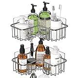 2 pack shower ducha Caddy, estantería de ducha Estanterías de baño con ganchos Organizador de almacenamiento de acero inoxidable a prueba de inodoro for el baño Dormitorio de la cocina, pegatina adhes