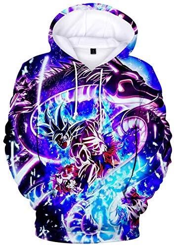 YIMIAO Jungen Herren Dragon Ball Hoodie Realistic Anime Unisex 3D Digitaldruck Sweatshirt Pullover(XS)