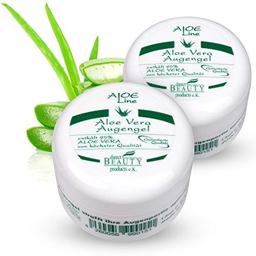 Aloe Vera Augengel - enthält 95% Bio Aloe Vera, Panthenol, Hyaluronsäure, Allantoin - Lindert Müdigkeitsfältchen, Schwellungen, strafft & pflegt die Haut - VEGAN / 2er Pack (2 x 15 ml)