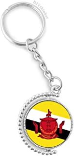 Brunei National Flag Asia Country Rotatable Key Chain Ring Keyholder