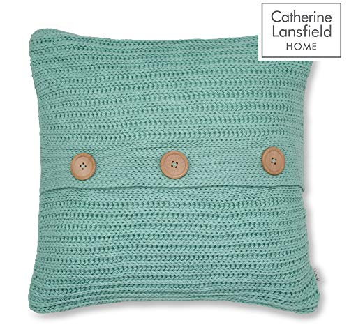 Catherine Lansfield Chunky Knit Cushion Cover Duck Egg, 45x45cm