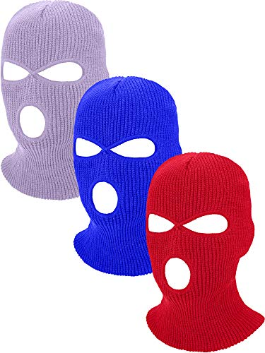 Geyoga 3-Holes Full Face Cover Knitted Neck Cover Winter Balaclava Outdoor Sports Cycling Hat for Men and Women (Royal Blue, Light Purple, Red, Adult Size)