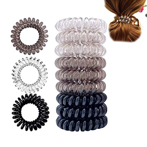 Ealicere 9 Stück Telefonkabel haargummiklein elastisch Haarband, 3 Farben Spirale Telefonkabel Anti Spliss Zopfgummi Fitness Haarband Spiral Haargummi für Damen und Mädchen
