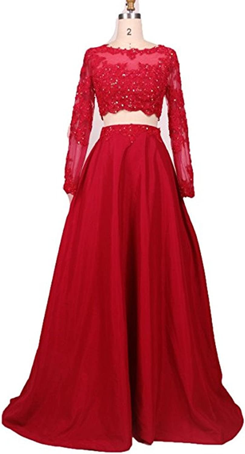 Ai Maria Women's Two Pieces Lace Prom Dresses Long Sleeves Evening Party