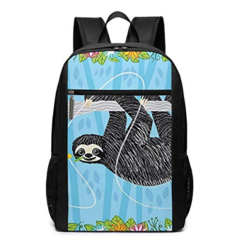 ZYWL The Sloth and The Hummingbird Mochila, Mochila de Negocios Duradera para computadora portátil, Bolsa de computadora Resistente al Agua para la Escuela universitaria, Regalos para Hombres y Mujer