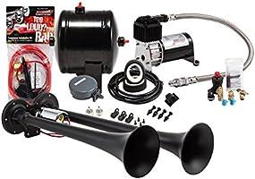 Kleinn Air Horns HK2-1 Black Complete Dual Truck Air Horn Package