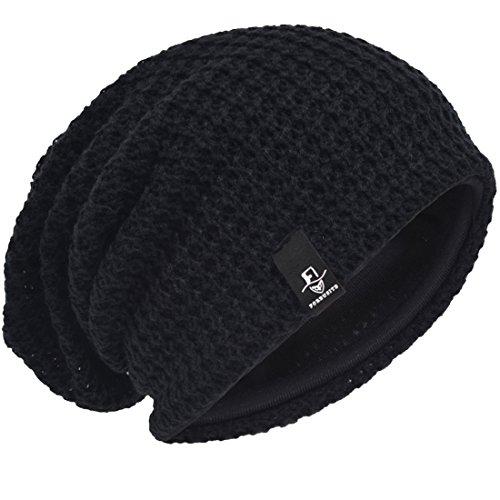 Hombre Gorro de Punto Slouch Beanie Knit Invierno Verano Hat (Negro)