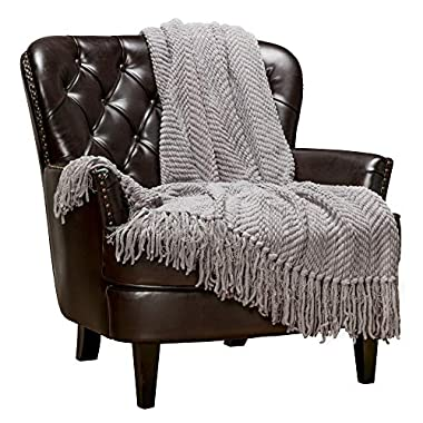 Chanasya Textured Knitted Super Soft Throw Blanket with Tassels Warm Plush Lightweight Fluffy Woven Blanket for Bed Sofa Couch Cover Living Bed Room Acrylic Silver Throw Blanket (50x65 Inches) Gray